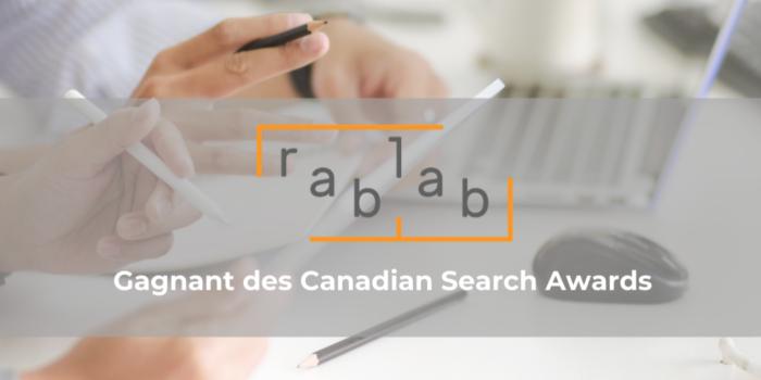 Rablab gagnante de deux prix aux Canadian Search Awards