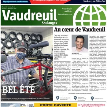Le journal Métro maintenant à Vaudreuil Soulanges